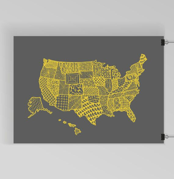 US Map Art Printzentangleunited By KristinaCarterPrints - Us map patterns