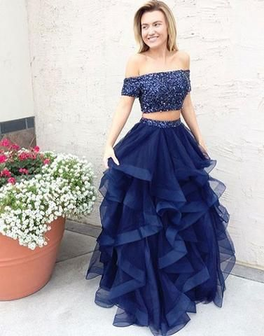 A line dark blue tulle off shoulder long prom dress, two pieces evenin