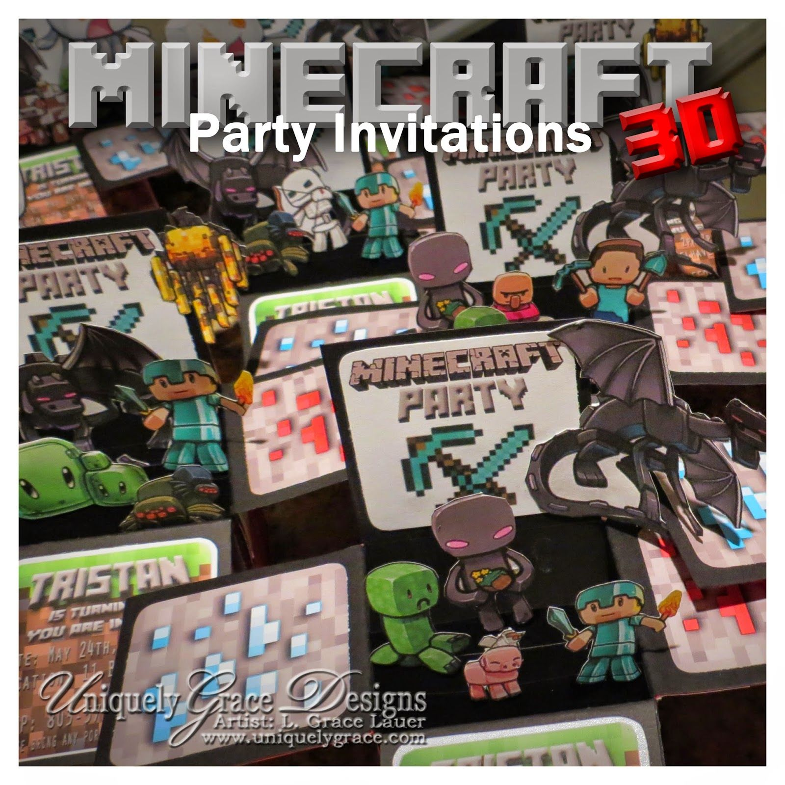 Uniquely Grace: Minecraft 3D Box Birthday Party Invitations - Custom Handmade Cards