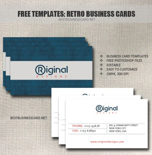 These Retro Business Card Templates Were Created In Adobe Photoshop Cs5 And Provided In Fu Free Business Card Templates Retro Business Card Free Business Cards
