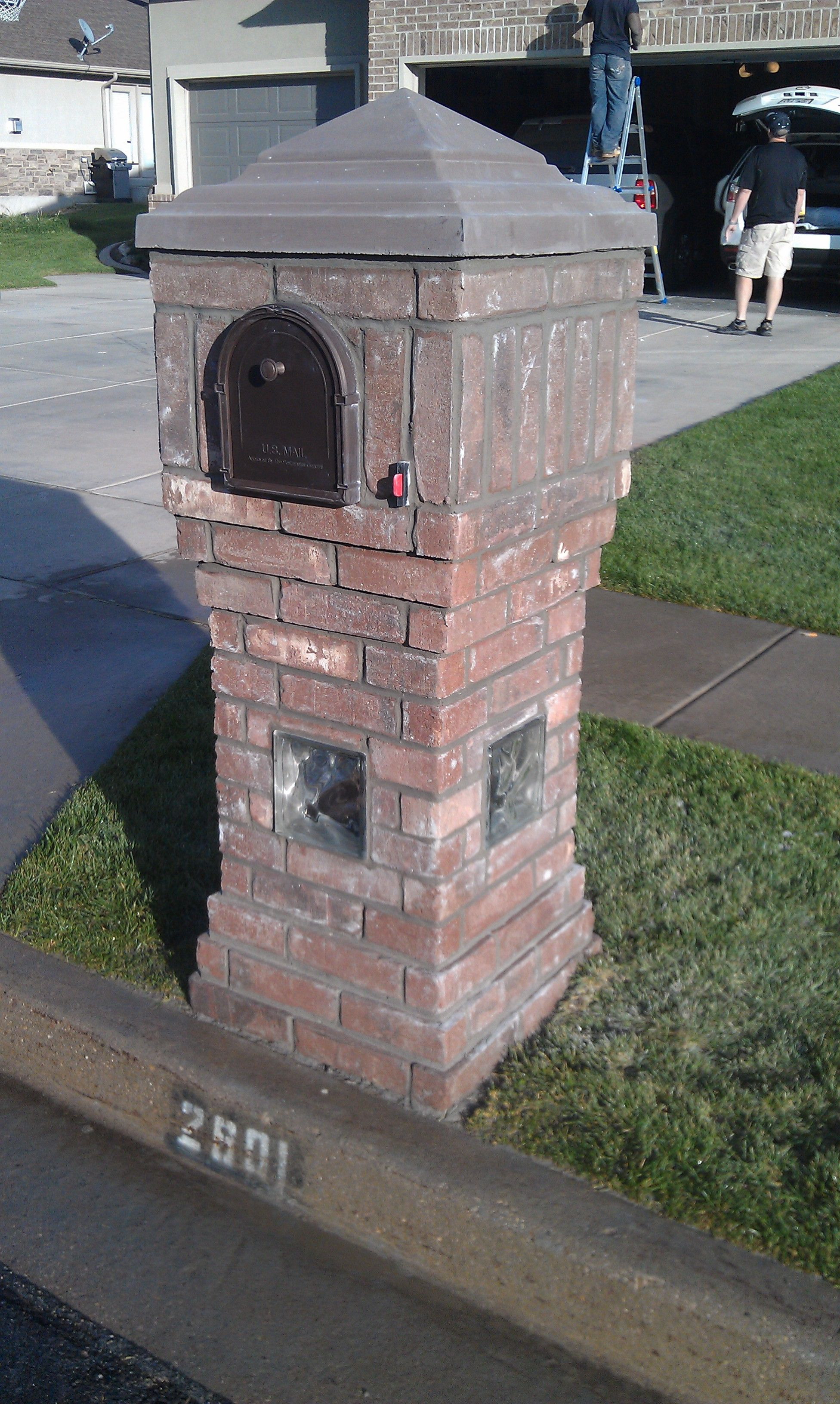 Glass Block In Mailbox Base. Outdoor