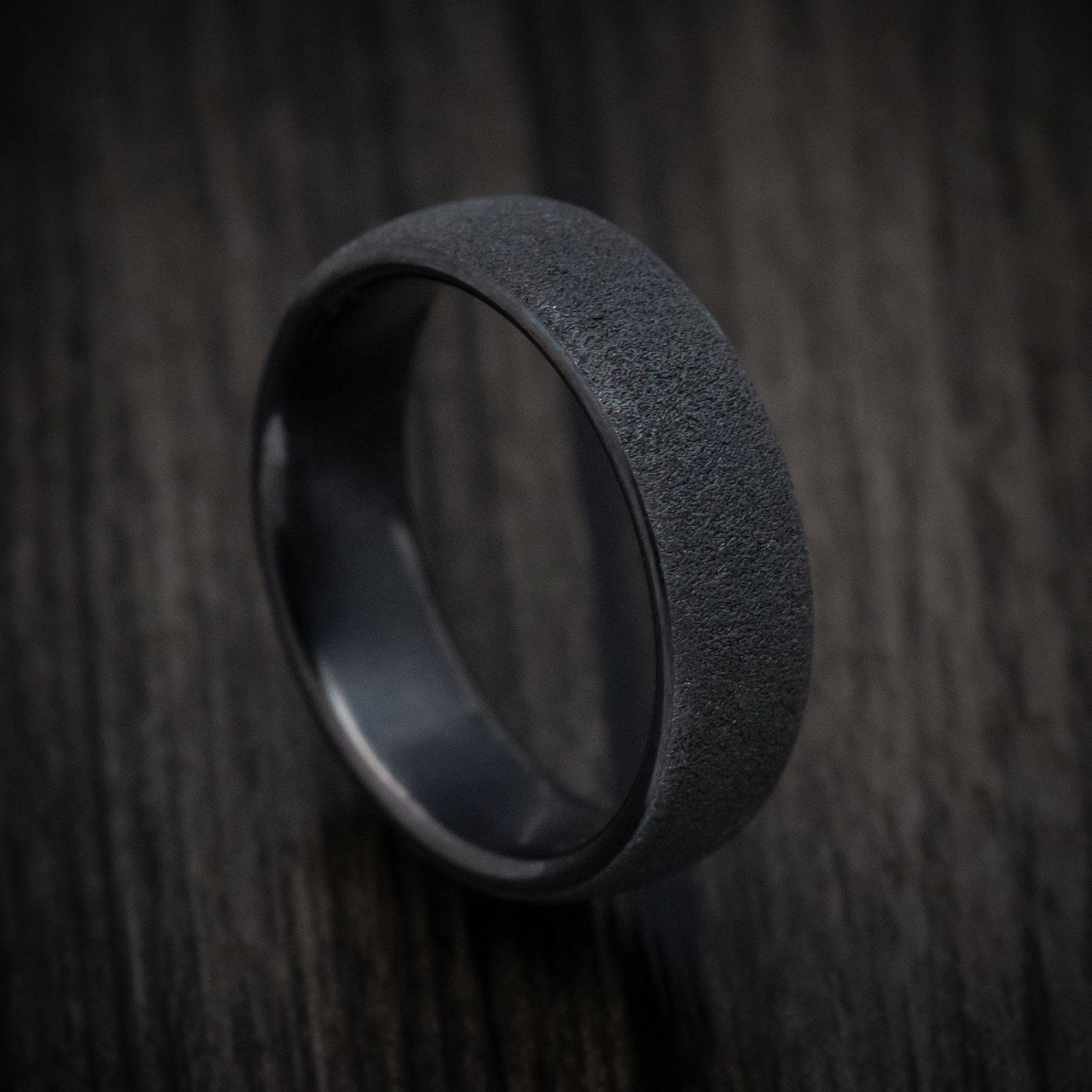 Black Titanium Concrete Finish Mens Band In 2020 Mens Wedding Bands Black Black Titanium Black Wedding Band