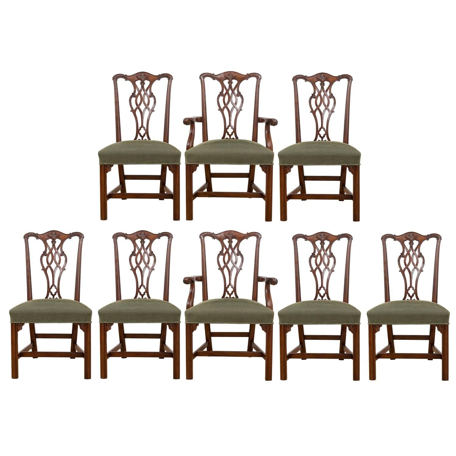 Reproduction 18th Century Chippendale Mahogany Chairs, Set Of Eight