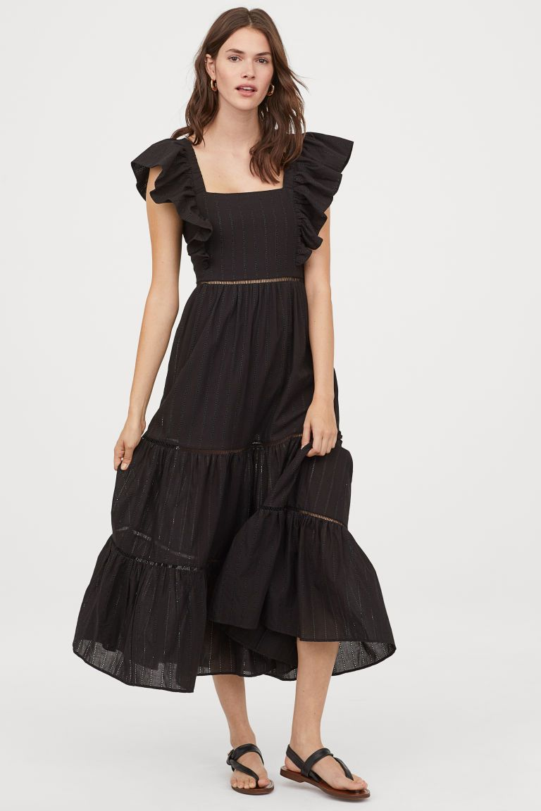 long dress with lace details - black - ladies | h&m us