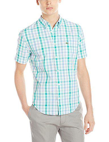 Lacoste Men's Short Sleeve Poplin Gingham Check Woven Shirt, Corsica Aqua/Diabolo Green/White, Large/Eur 42 Lacoste http://www.amazon.com/dp/B00R4HLKR4/ref=cm_sw_r_pi_dp_AuhKvb0K7F7FN