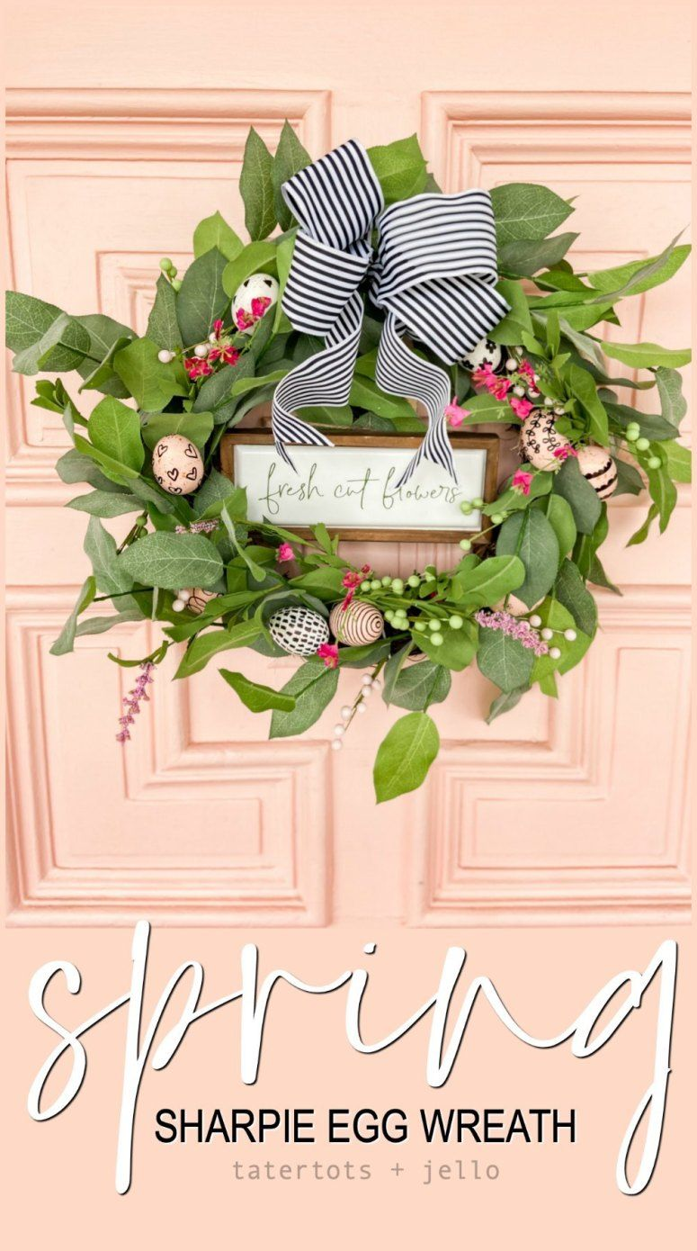 Farmhouse Spring Sharpie Egg Wreath in 2020 Spring egg