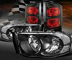 Amazon Com 2002 2005 Dodge Ram 1500 2500 3500 Black Headlights W X2f Smoked Black Tail Lights Automotive Dodge Ram 1500 Dodge Ram Black Headlights