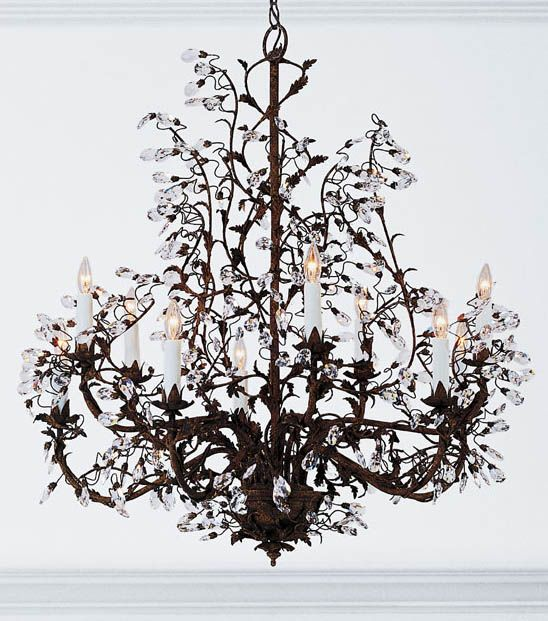 hand crafted wrought iron chandelier with Swarovski crystal drops – Chandeliers Wrought Iron