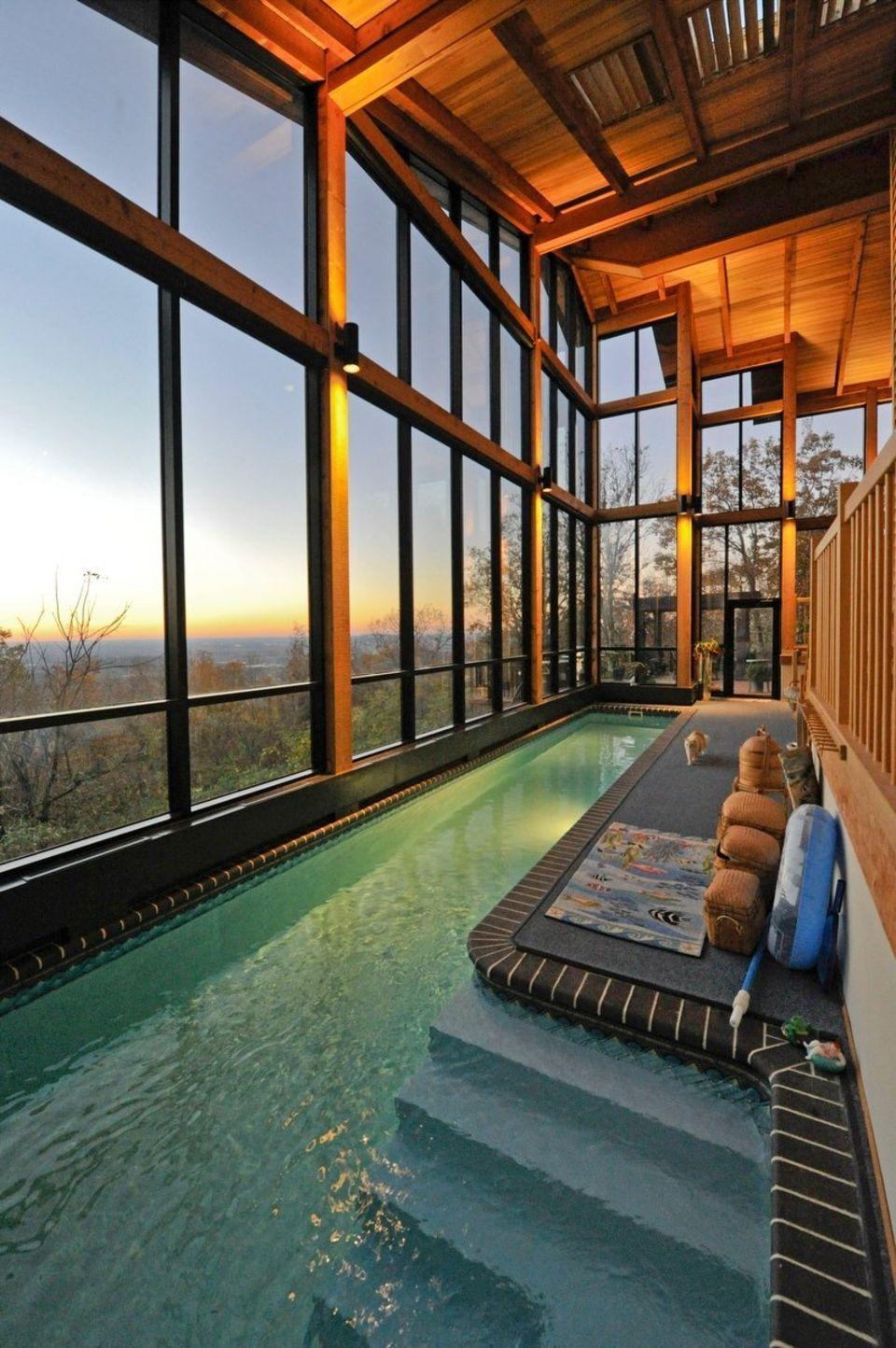 Top 23 Sunroom Decorating Ideas In 2020 Indoor Swimming Pool Design Indoor Swimming Pools Backyard Getaway