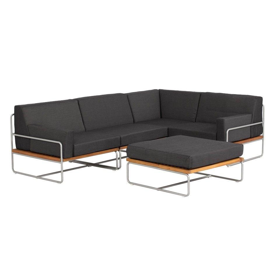 Lounge sofa garten grau  OUTLIV. Largo Loungeset 5-teilig Stahl/Akazie mit Polstern in Grau ...