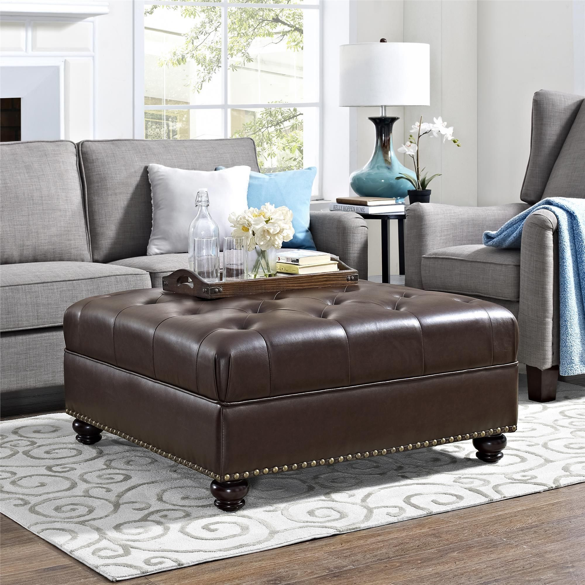 Excellent Avenue Greene Dorel Living Maxwell Brown Tufted Ottoman Pabps2019 Chair Design Images Pabps2019Com