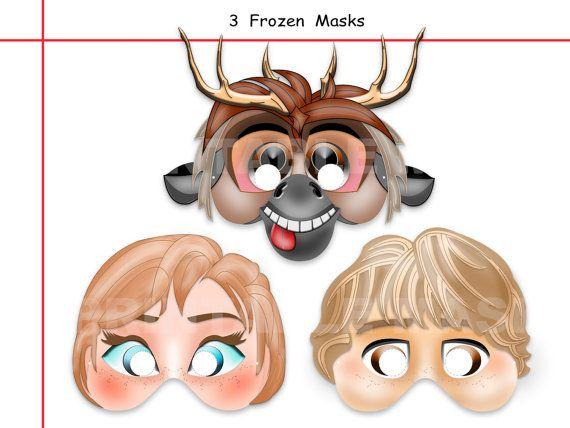 Unique 3 Frozen Printable Masksparty by AmazingPartyShop on Etsy