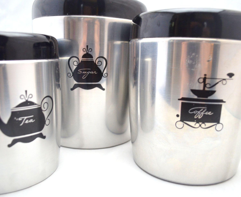 vintage west bend canister set mid century sugar tea and. Black Bedroom Furniture Sets. Home Design Ideas