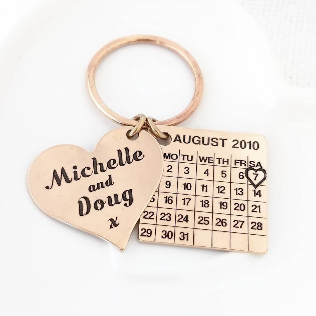Personalized calendar keychain, handmade entirely from