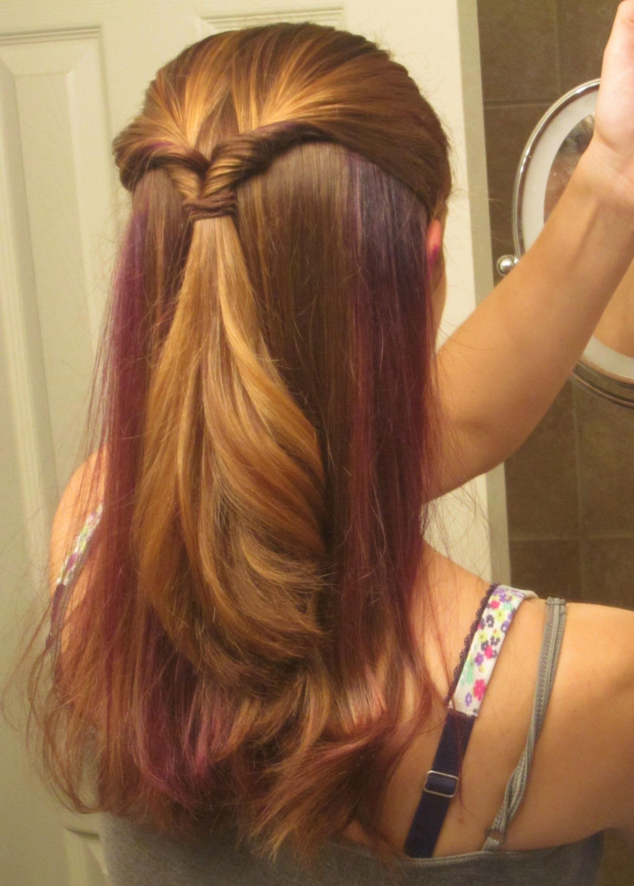 Purple Highlights Hidden Under Hair Style 3 Pinterest Purple