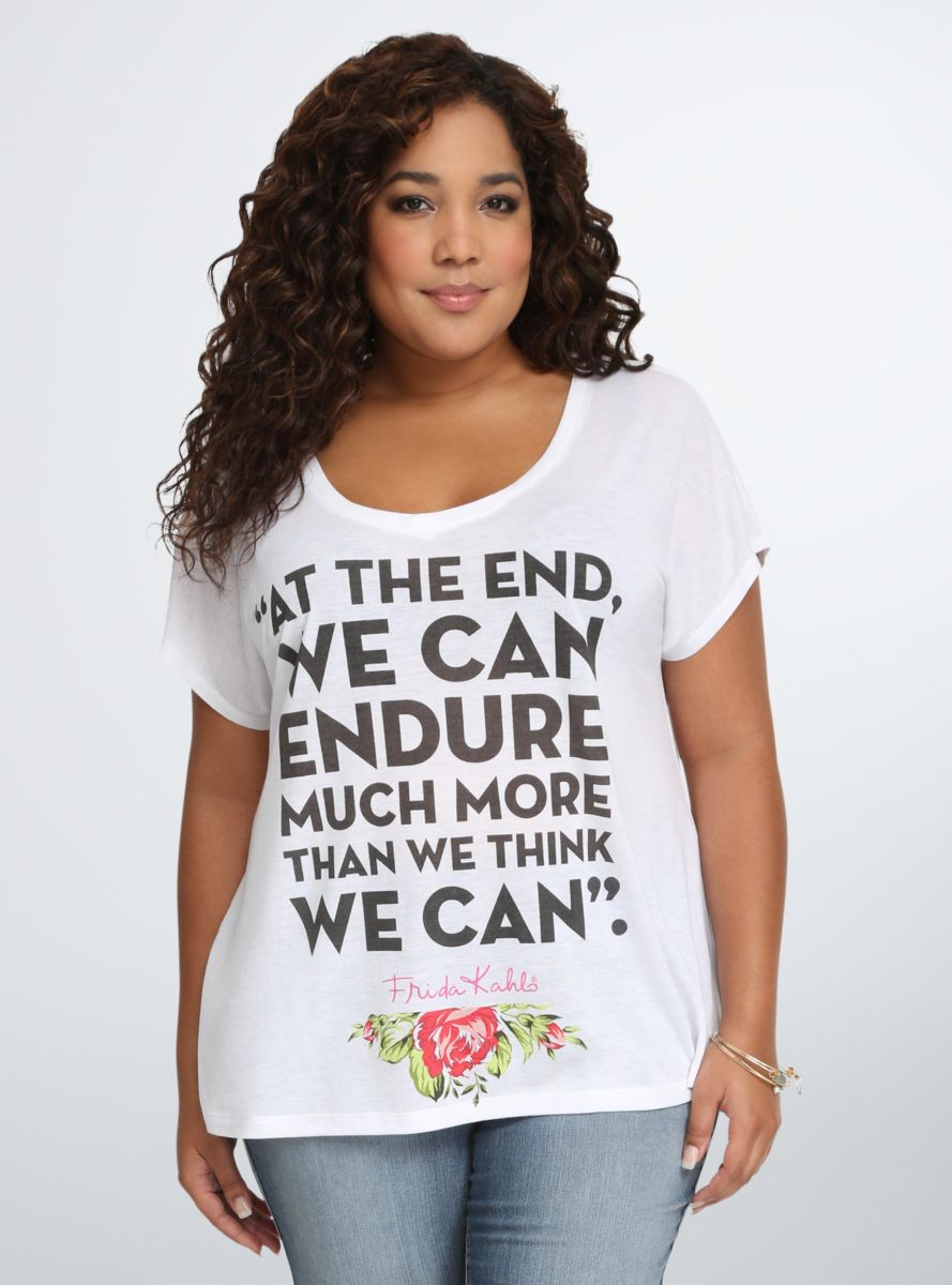 8b75ea0df94 Frida Kahlo Quote Chiffon Back Tee From the Plus Size Fashion Community at  www.VintageandCurvy.com