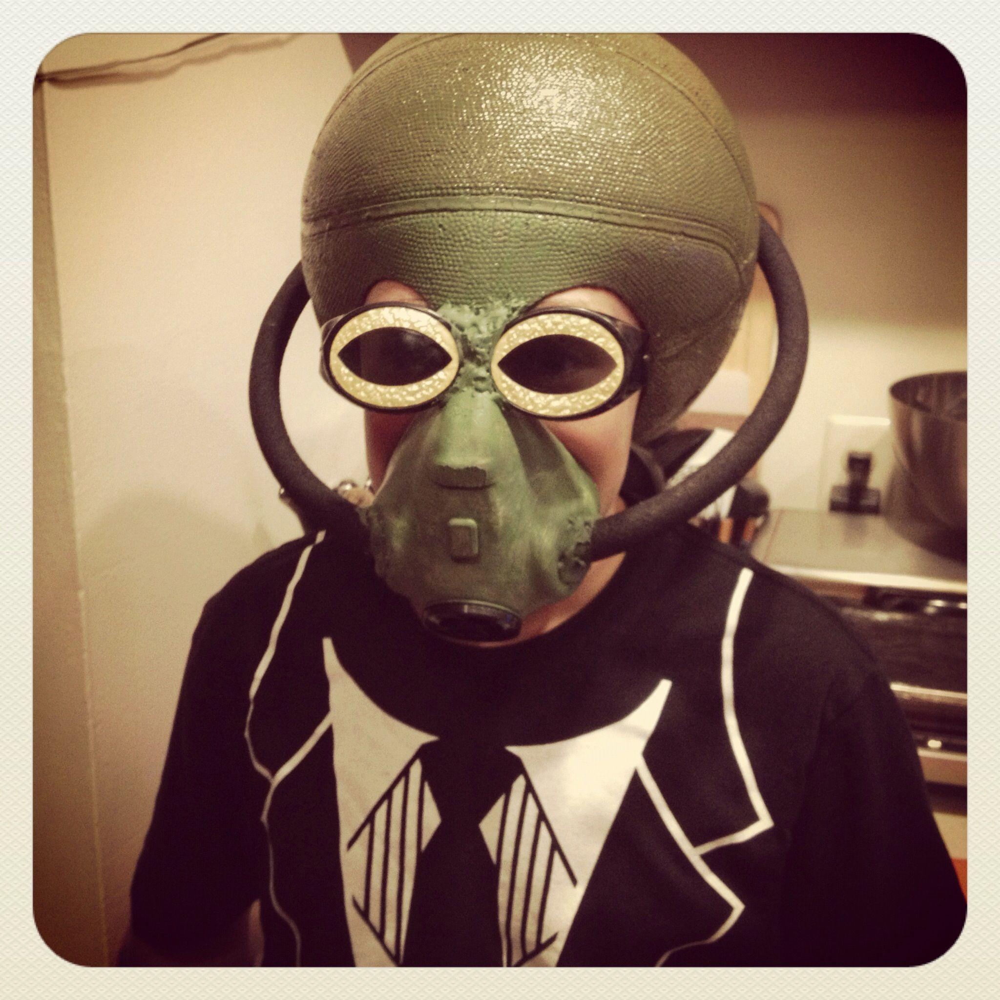Homemade Halloween Alien Mask~basketball, spray paint, rubber hose ...
