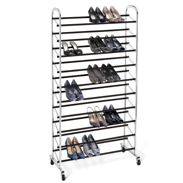 Chrome 10 Tier Rolling Shoe Rack Is A Great Example Of A Shoe Rack.