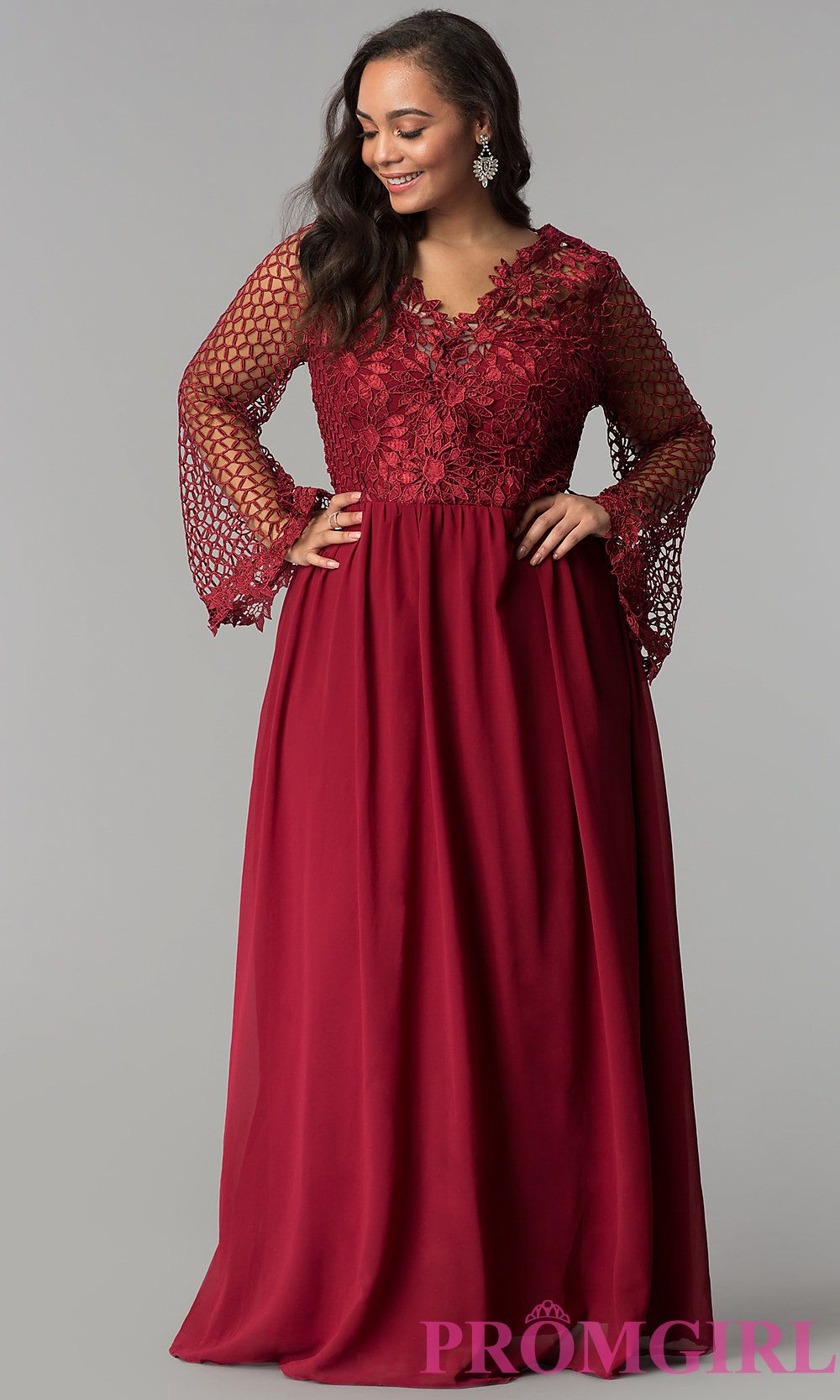 8f5fcf97503 Image of long plus-size prom dress with lace bodice. Style  SOI-PM17298  Detail Image 3