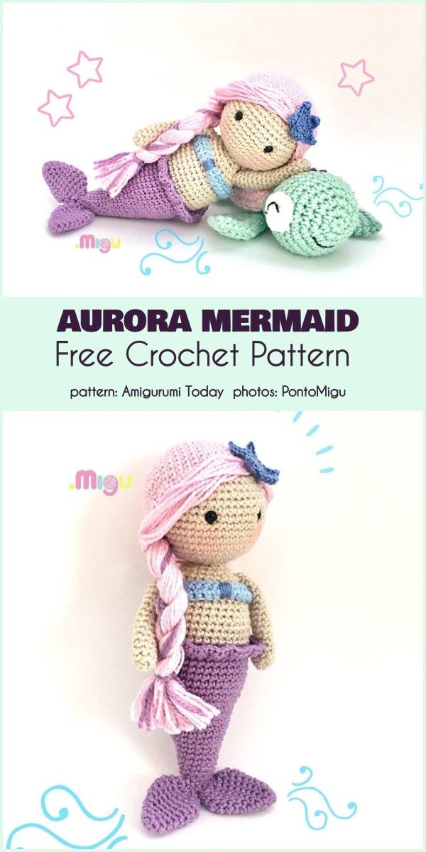 Aurora Mermaid Free Crochet Pattern #crochetamigurumifreepatterns