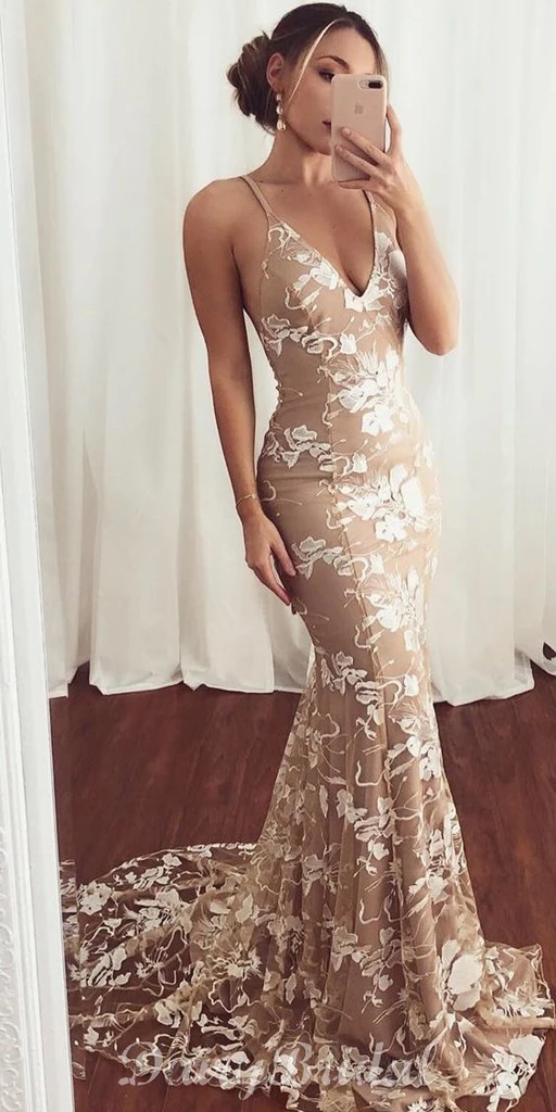 Sexy Mermaid V-neck Spaghetti Straps Backless Lace Prom Dresses, FC3754