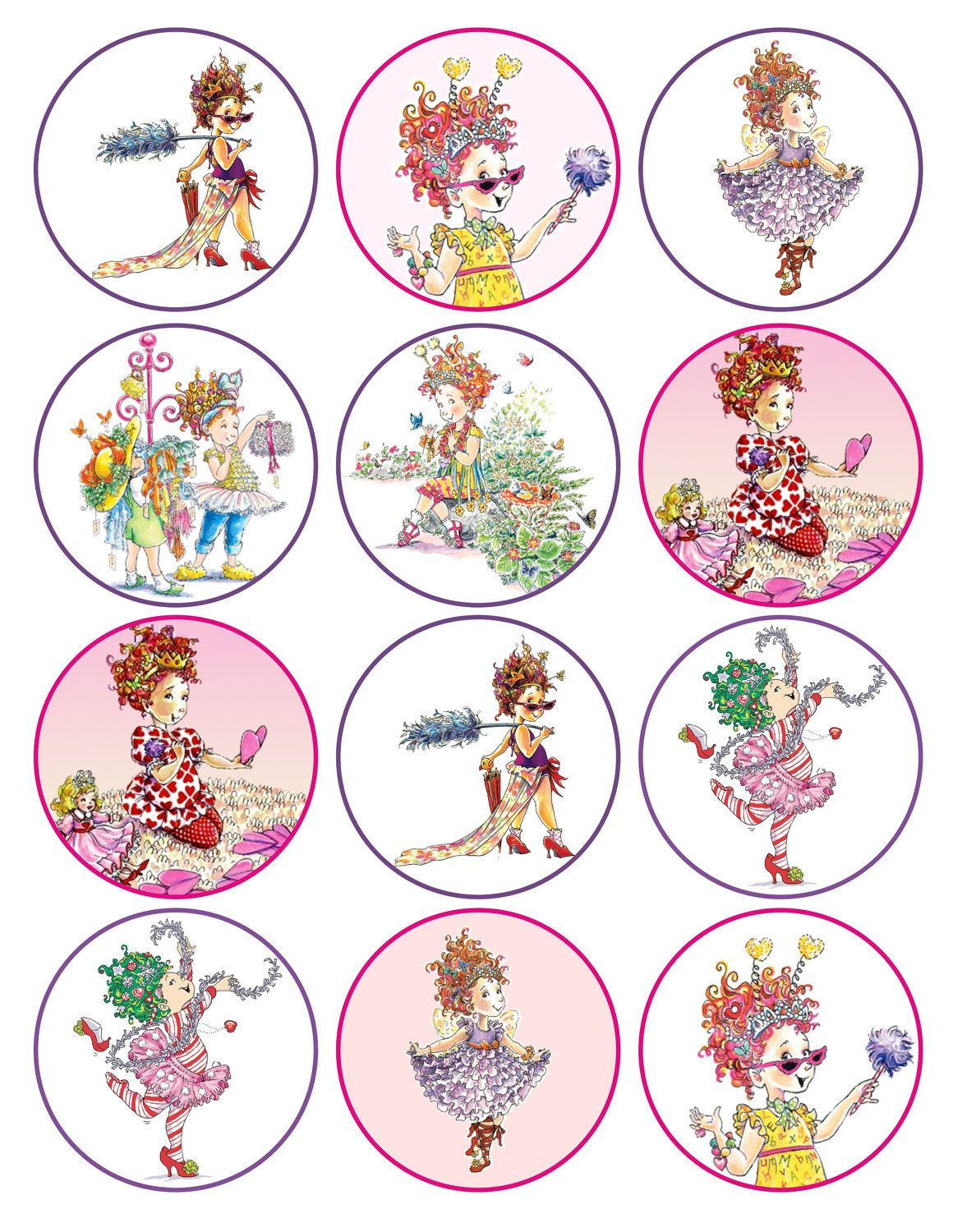 fancy nancy printable birthday party cupcake toppers favor tags via etsy  [ 1160 x 1500 Pixel ]