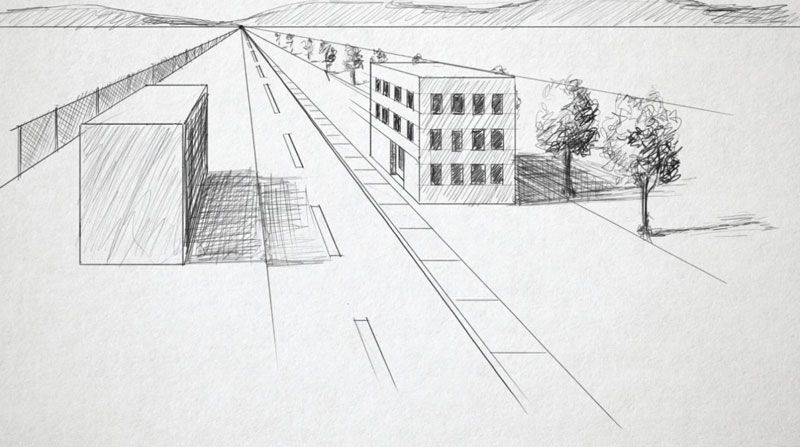 One Point Perspective Landscape One Point Perspective Point Perspective Landscape Drawing Tutorial