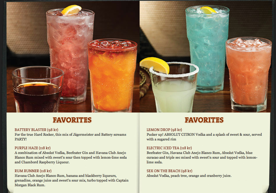 My Favourite Page On Hard Rock Cafe Drinks Menu Hard Rock Cafe Menu Absolut Citron Drink Menu