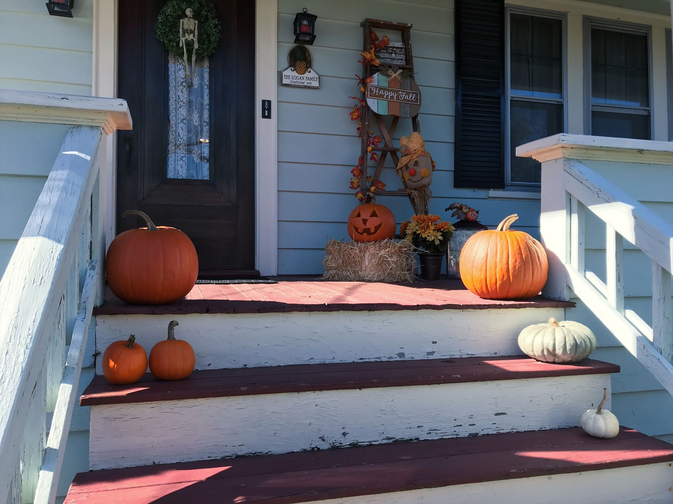 Fall front porch pumpkins vintage ladder decor boxwood wreath