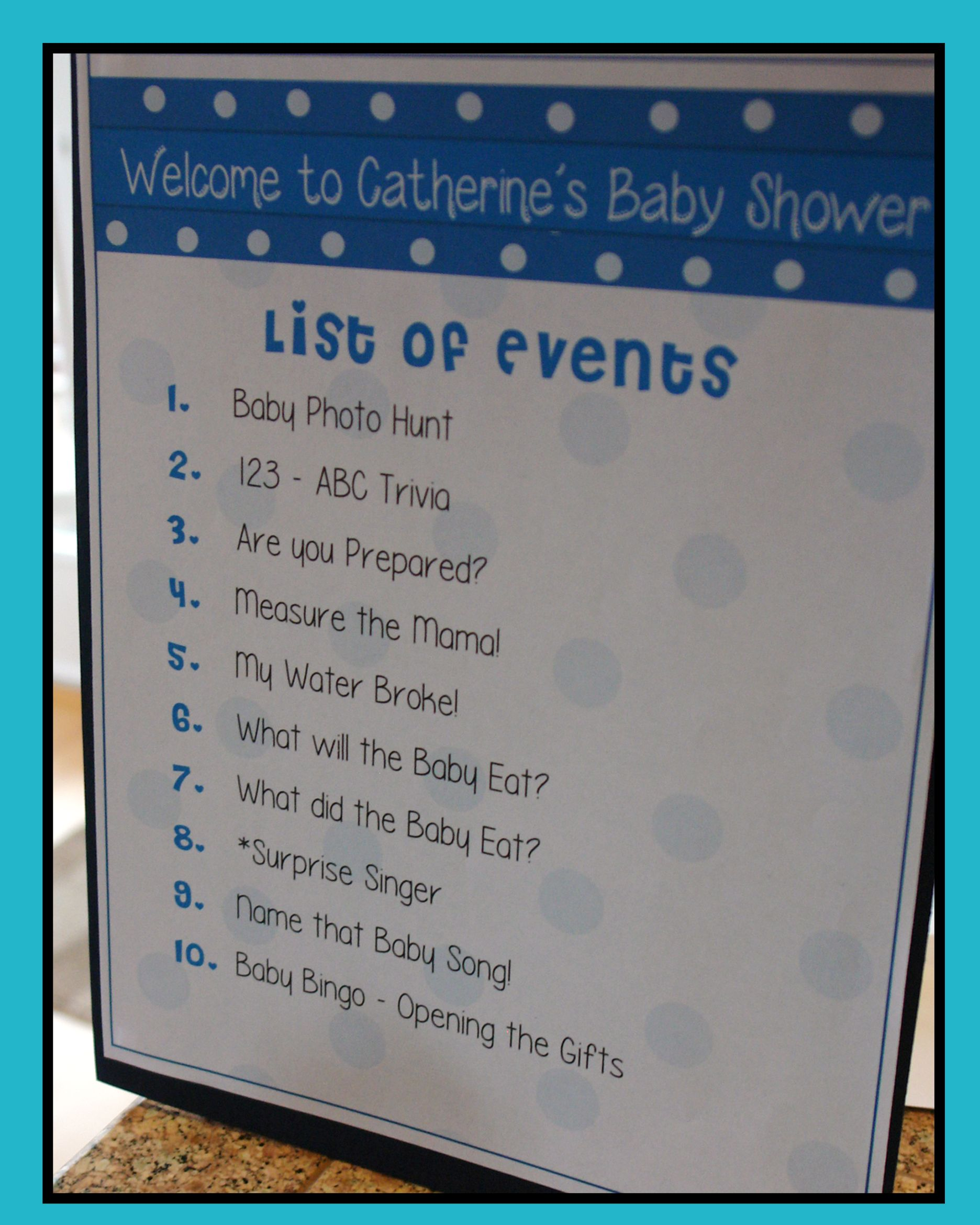 Agenda List Of Events This Is Helpful For The Guests To Know What To Expect I Planned Ten Mini Baby Shower Program Baby Shower Event Polka Dot Baby Shower