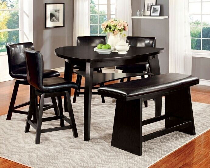6 Pc Hurley Collection Modern Style Black Finish Wood Triangular Glamorous 9 Pcs Dining Room Set Design Ideas