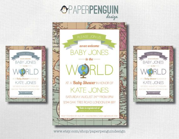 Welcome to the world baby shower invitation by paperpenguindesign welcome to the world baby shower invitation travel themed digital printable invites print at home invitations gender neutral filmwisefo