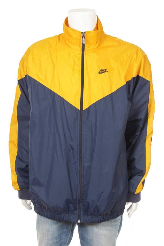 Vintage 90s Nike Windbreaker jacket Navy Blue Yellow Size XXL  ff068219f3e0