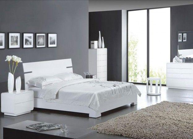 Lit blanc laqué SERRA prix soldes AchatDesign 579.00 € TTC ...