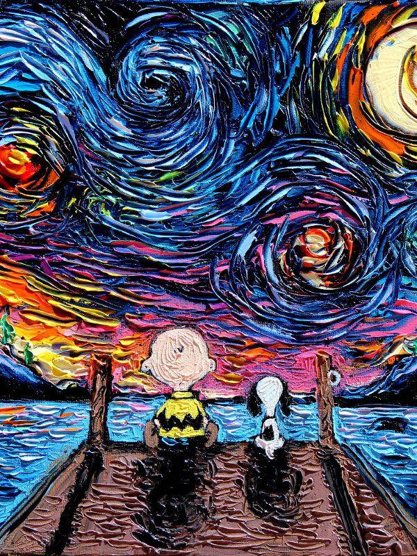 Snoopy And Charlie Brown Art Peanuts Starry Night Van Gogh