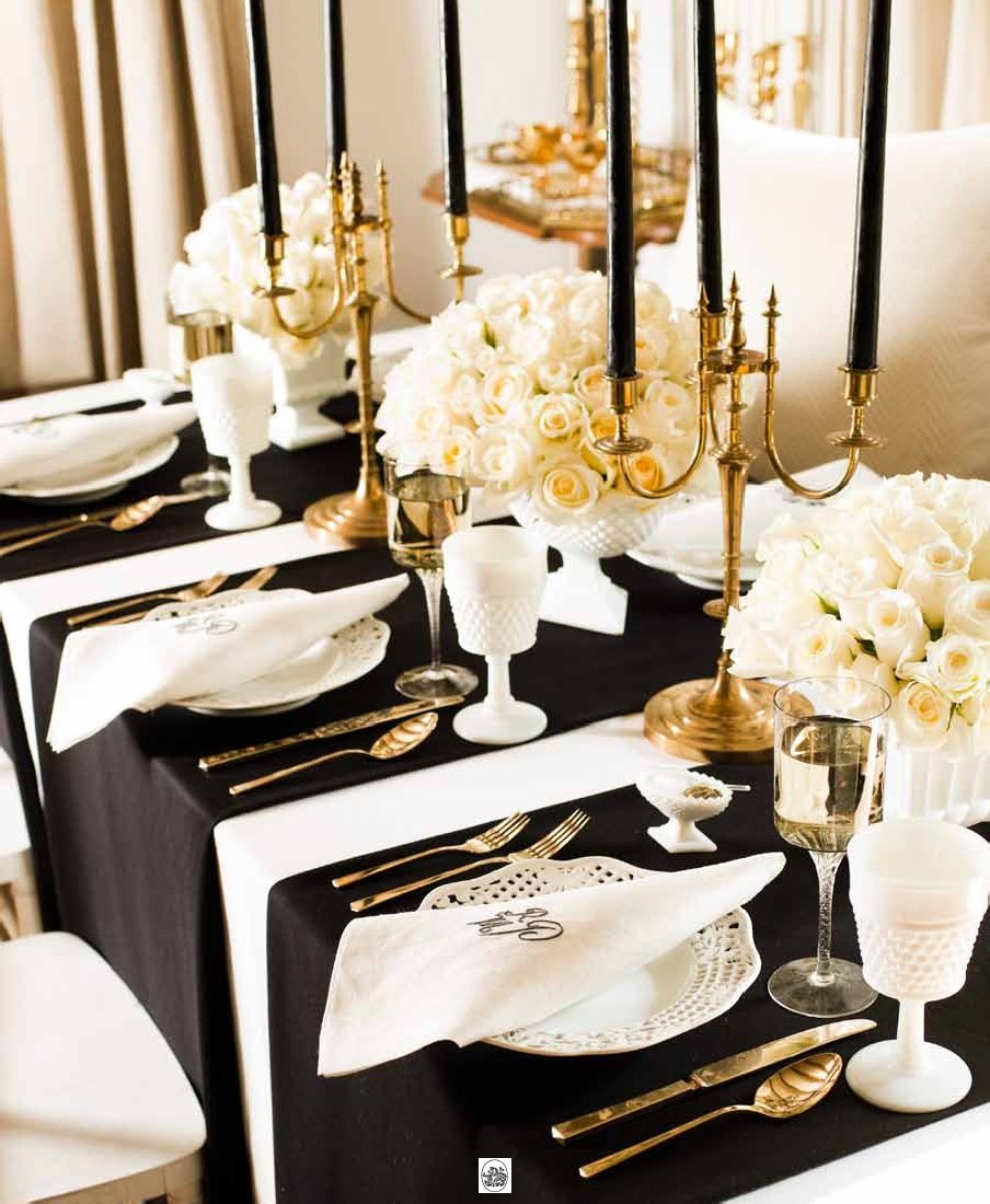 Design Black And White Table Settings oscars movie party black candles gold and napkins white table setting