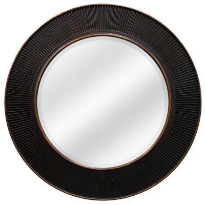 30 In X 30 In Oil Rubbed Bronze Valencia Circle Framed Mirror
