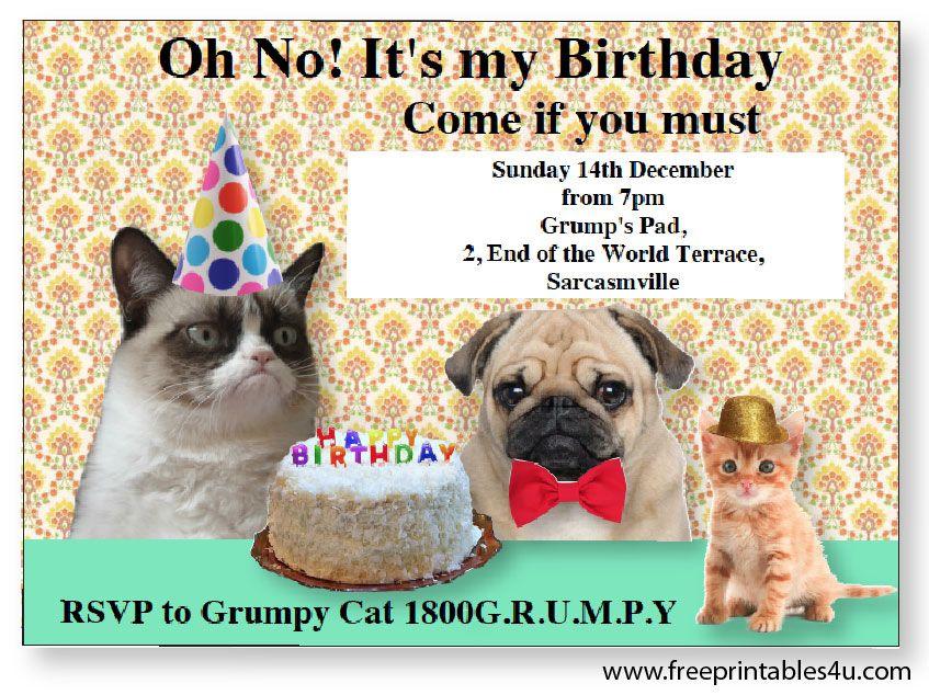 Free Grumpy Cat Editable Invites Kids Grumpy Cat Cakes