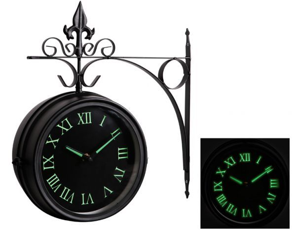 13.7in Glow In The Dark Double Sided Outdoor Clock With