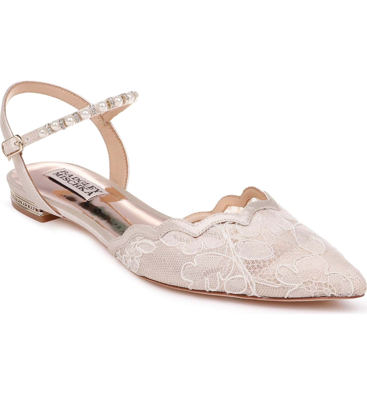 70c1b8ce04 Badgley Mischka Lennon Embellished Skimmer Flat, Main, color, IVORY FABRIC/  SATIN