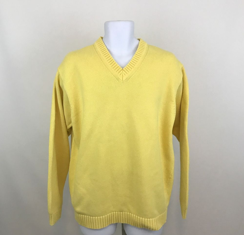 Ll Bean Mens Sweater Lt Large Tall Yellow Pullover V Neck Long