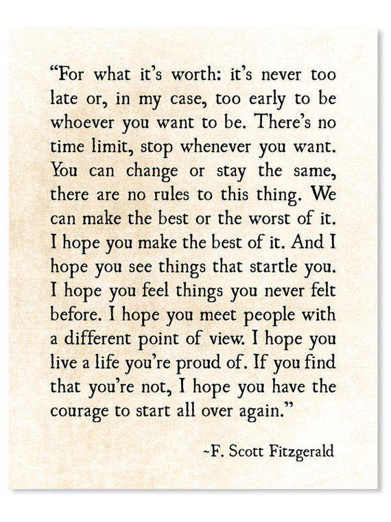F Scott Fitzgerald Print, For What its Worth, Fitz