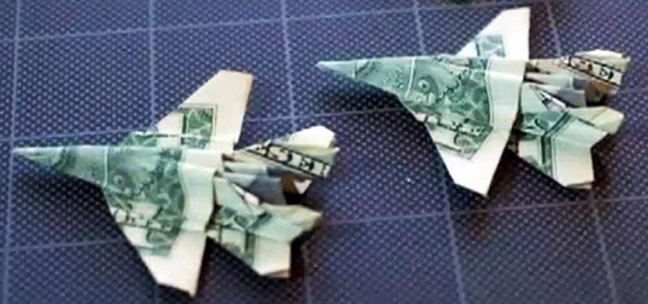 How to Fold an Origami F-18 Fighter Jet Out of a Dollar Bill - several videos breaking it into steps