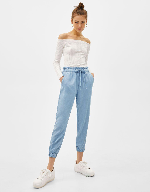 Pantalon Jogger Denim High Waist Tencel Ropa Moda De Ropa Moda