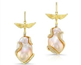 Love Doves Souffle Pearl and Diamond Earrings