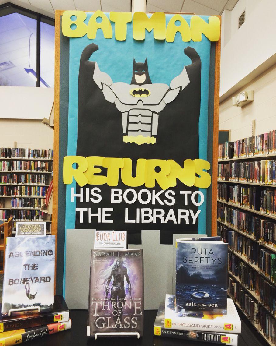 Elementary Super Hero Classroom Ideas ~ Batman returns his books to the library teen