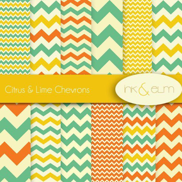 Chevrons Digital Paper Chevron Scrapbook Paper Orange Green Yellow