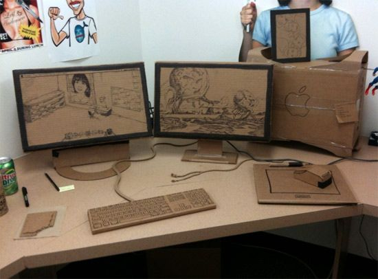 A Fun Welcome Back From Vacation Office Prank Cardboard Furniture Design Office Pranks Cardboard Furniture
