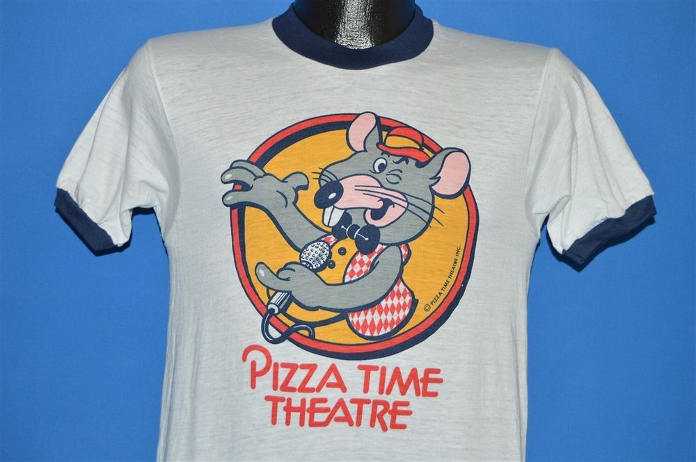 20cb5a9e8 vintage 70s PIZZA TIME THEATRE SHOWBIZ CHUCK E CHEESE RINGER t-shirt SMALL  S #Unbranded #GraphicTee