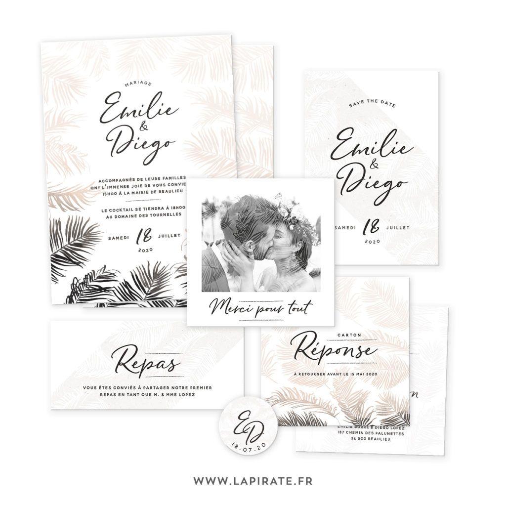 Papeterie Mariage Pampa, mariage bohème • La Pirate